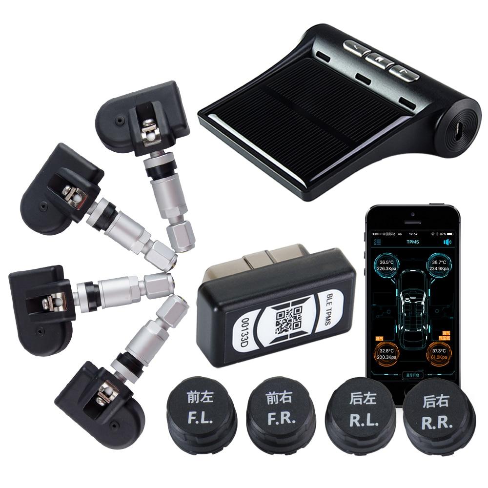 Viecar Car Tire Pressure Alarm System TPMS Monitoring Bluetooth APP OBD LCD Display Tyre External /Built-in Sensor Android IOS