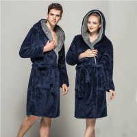 Winter Sexy Lovers Couple Soft Bathrobe With Hood Women Men Robes Nightgown Home Clothes Warm Bath