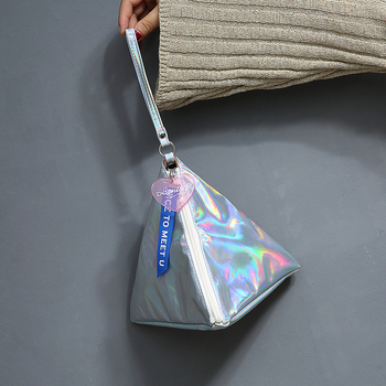 Bentoy Shining Leather Women's Handbag Personality Triangle Purse Hologram Clutch Evening Bag Fashion Wristlets Ladies Purse 2