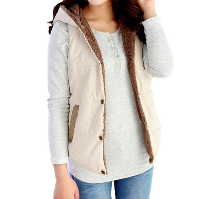 Polly Pocket Srogem Moda Inverno Casaco Mulheres Bodywarmer Colete Moletom  Com Capuz Sherpa Colete Feminino Kamizelka a99a757f73c