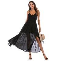 641feb4c75 Women Sexy Long Black Dress With Padding Sexy Back Strap Cross Chiffon  Dresses Red Side Split. US  29.89 US  16.74. Zobacz Ofertę. Jesień kobiety  ...