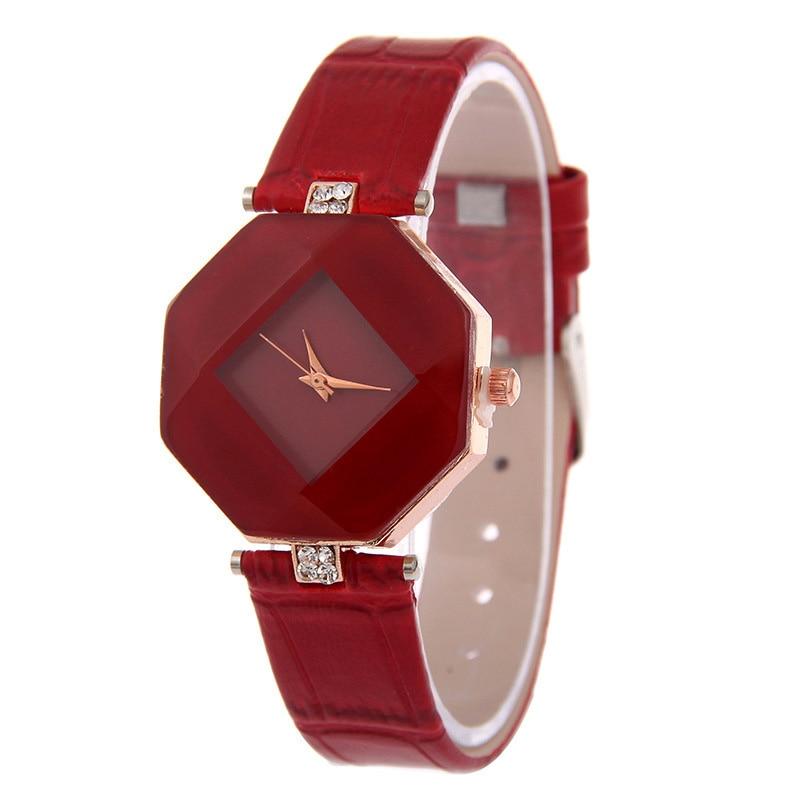 Women Watches Gem Cut Geometry Crystal Leather Quartz Wristwatch Fashion Dress Watch Ladies Gifts Clock Relogio Feminino 5 color 8