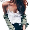 M. H. Artemis Chique Camisola Lace Patchwork Branco Top Sexy Com Decote Em V Sem Mangas Tanque Encabeça Básica Casual Verão Estilo Harajuku Blusa