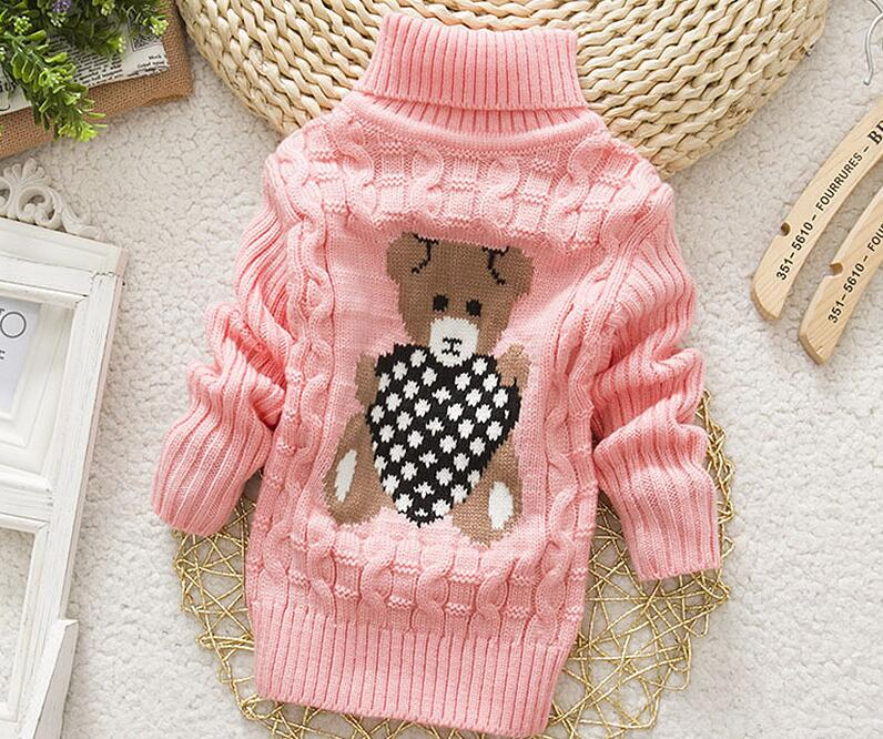 2018 Winter Girls Warm Sweaters Boys Thick Knitted Turtleneck Sweaters Baby High Collar Pullover Cartoon Bear Sweater Kids Coats 4