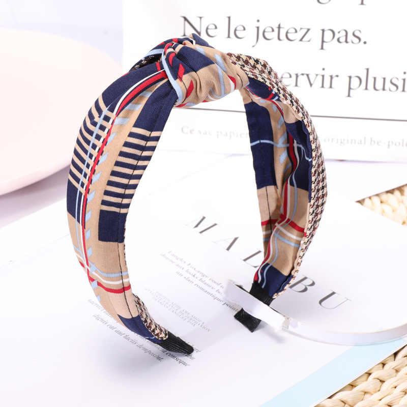 Корейский Бутик ободок для волос мода решетки тюрбан с узлом ободок Девушки Женщины обруч для волос ленты аксессуары повязки для волос Головные уборы