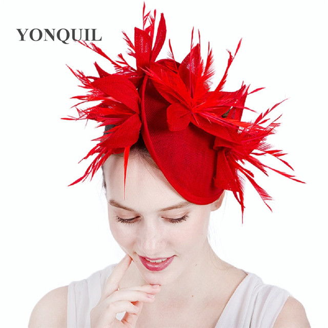 15Colors wedding Red fascinator hats on hair band feather special hats  popular hatinator women wedding flower headbands SYF152 1600ca304a4