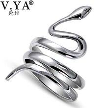 V.YA Anillo de Plata de Ley 925 con diseño de Animal, anillo ajustable con diseño de serpiente, para hombres y mujeres