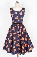 2015 New Women 50s Vintage 60s Dress Audrey Hepburn Style Deep Blue Orange Cherry Print