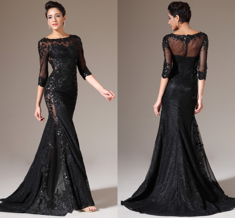 Elegant Free Shipping Custom Made Black Lace Mermaid Prom Gowns Long ...