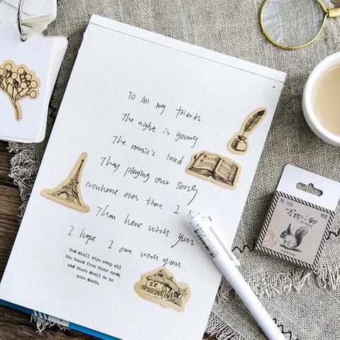 bonitos diario de papel artesanal etiqueta selagem