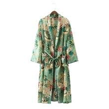 2017 модная летняя пляжное длинное кимоно кардиган роковой женщины халат цветочный блузка рубашка кимоно feminino атласные Модные Зеленый лист цветок