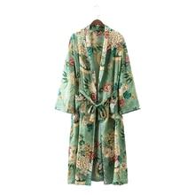2017 summer hot Beach long Kimono Cardigan femme Women robe Floral Blouse shirt kimonos feminino satin Fashion Green leaf flower