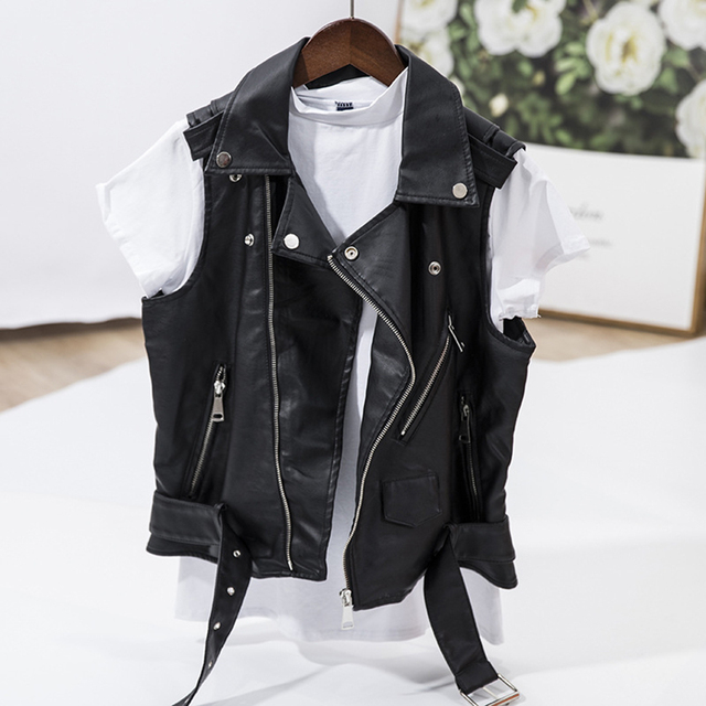 Punk Faux Leather Vest Jacket Women Sleeveless Motorcycle Biker Jackets  Black Waistcoat Retro Cool Female Zipper Short Coat 4XL d9a2b9a210
