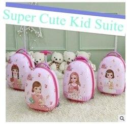 Valigia di rotolamento per le ragazze stile Uovo kid valigia Dei Bagagli di Corsa valigia per il capretto carrello dei bagagli Ruote Valigia trolley borse