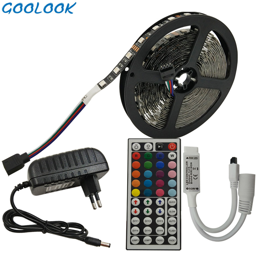 LED Strip Light RGB 5050 SMD 5M 10M RGB Light Strip IP20 Led Flexible Tape+ IR Remote Controller+LED Ribbon 12v Power Adapter