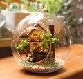 3 pcs Sonho Floresta casa de boneca em miniatura casa de bonecas caixa de vidro mini-diy casa de vidro mão bola Com luzes LED Atacado