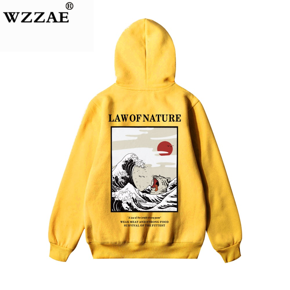 WZZAE Japanese Embroidery Funny Cat Wave Printed Fleece Hoodies 2020 Winter Japan Style Hip Hop Casual Sweatshirts Streetwear
