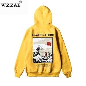 Image 1 - Wzzae japonês bordado engraçado gato onda impresso velo hoodies 2020 inverno japão estilo hip hop camisolas casuais streetwear