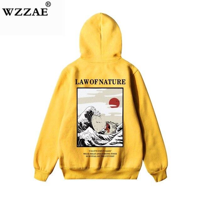 Wzzae japonês bordado engraçado gato onda impresso velo hoodies 2020 inverno japão estilo hip hop camisolas casuais streetwear