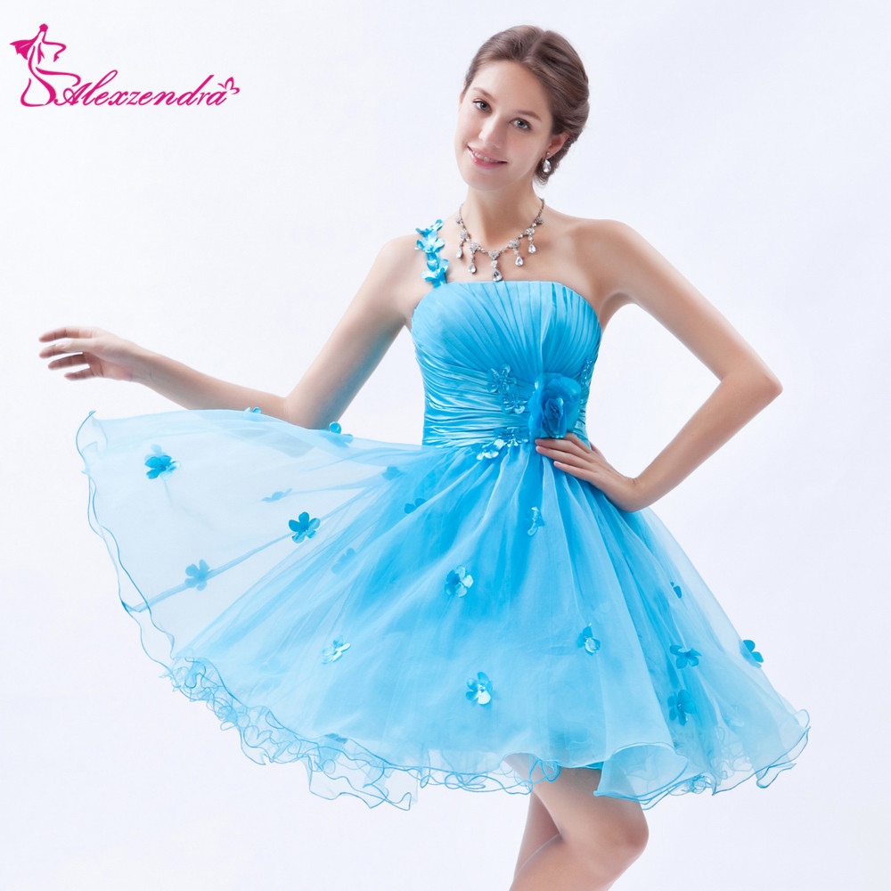 Alexzendra Sky Blue Mini Short One Shoulder   Prom     Dresses   2018 A Line Simple Party   Dress   Plus Size