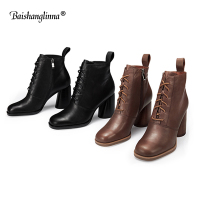 Baishanglinna Genuine leather Women Boots high heels Women Winter Shoes Female Ankle Fashion warm Boots For Women botas mujer