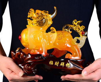 2020  office home  Talisman Protection Money Drawing 3D Propitious crystal PI XIU Sculpture FENG SHUI statue  24CM