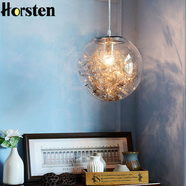 Nordic Modern DIY Living Room Pendant Lights Creative Bedroom Restaurant Glass Ball Flower Pendant Lamp Kitchen Hanging Light