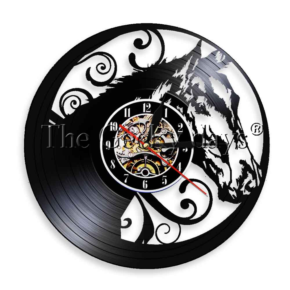 Lp Regal Us 19 1piece Regal Horse Head Led Lights Wild Nature Animal Head Vintage Vinyl Lp Record Wall Clock Modern Wall Art Clock In Wall Clocks From Home