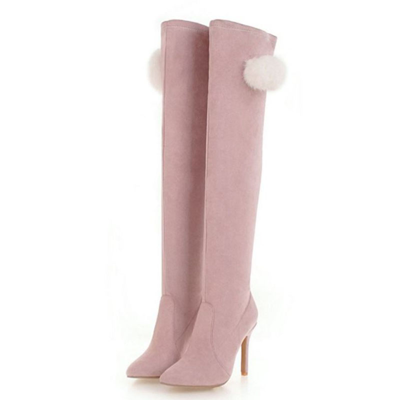 KemeKiss/Большие размеры 34-48, пикантные женские сапоги на высоком каблуке, тонкие сапоги до бедра, женские теплые зимние сапоги выше колена, сапоги на тонком каблуке - Цвет: Розовый