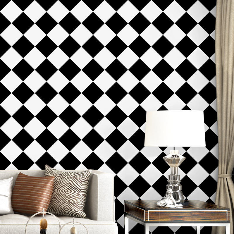 Nordic Minimalist Black And White Diamond Pvc Waterproof Wallpaper Living Room Bedroom Abstract Checkerboard Wallpaper Wallpapers Aliexpress