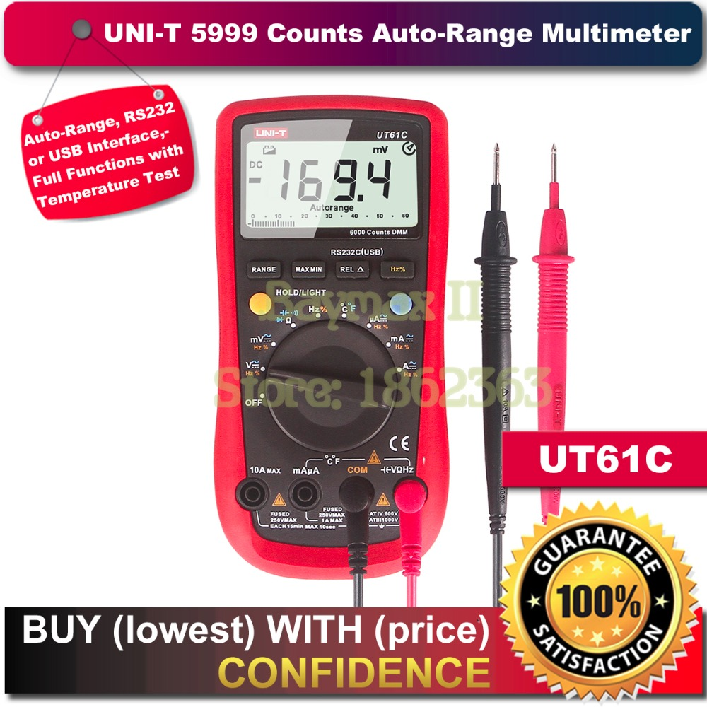 UNI-T UT61C 5999 Counts Auto-Range Digital Multi-meter for Voltage,Current,Resistance,Capacitance,and Temperature Measurement 1 pcs mastech ms8269 digital auto ranging multimeter dmm test capacitance frequency worldwide store