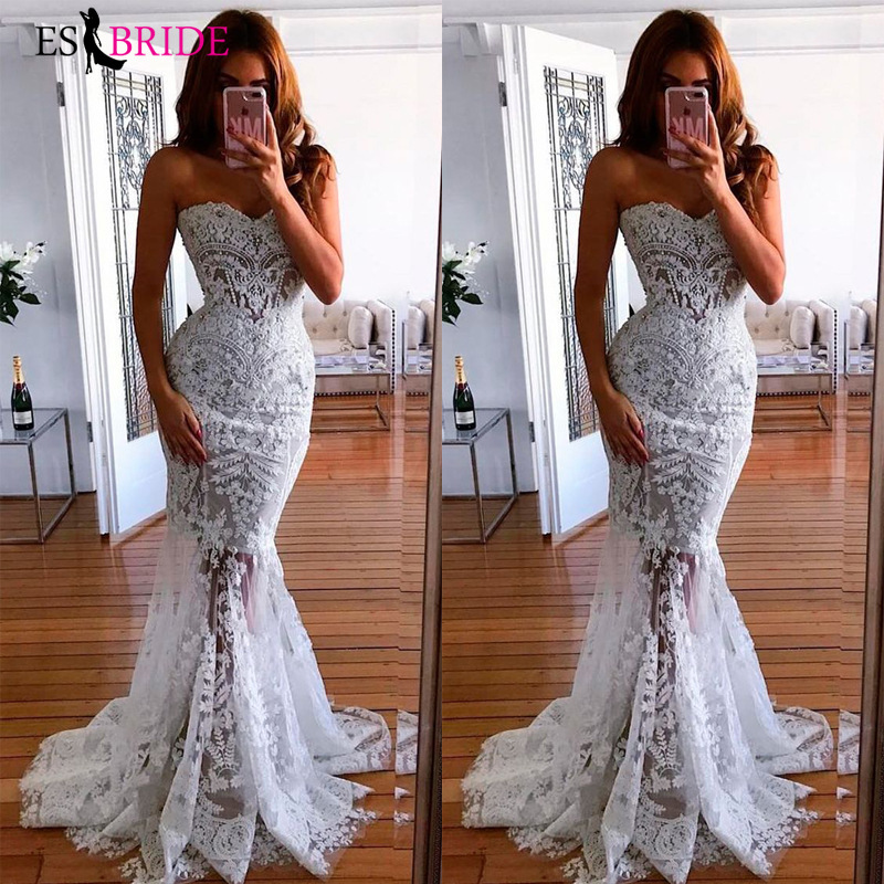2019 white simple evening dresses long luxury Mermaid Princess formal dress women elegant lace special occasion dresses ES2601(China)