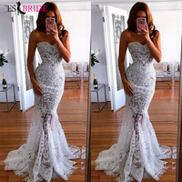 2019 white simple evening dresses long luxury Mermaid Princess formal dress women elegant lace special occasion dresses ES2601