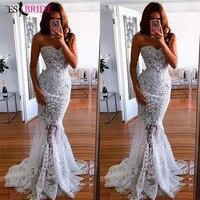 2019 white simple evening dresses long luxury Mermaid Princess formal dress women elegant lace special occasion dresses ES2601