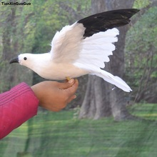 Около 32x55 см модель чайки птица МОДЕЛЬ полиэтилен и перья раскрытие крыльев птицы ручной работы, украшения сада s1132
