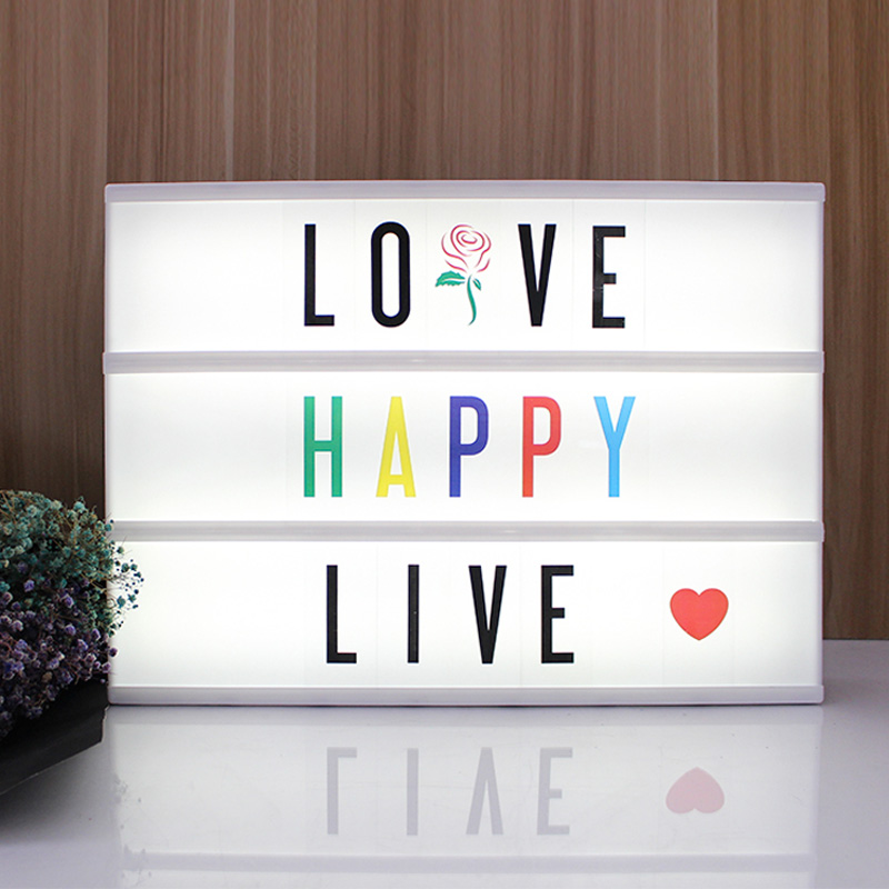 Night Light Size A3 LED Letter Card DIY Use AA Battery Or USB PORT Powered Indoor Decorative Table Lamp Cinema Lightbox