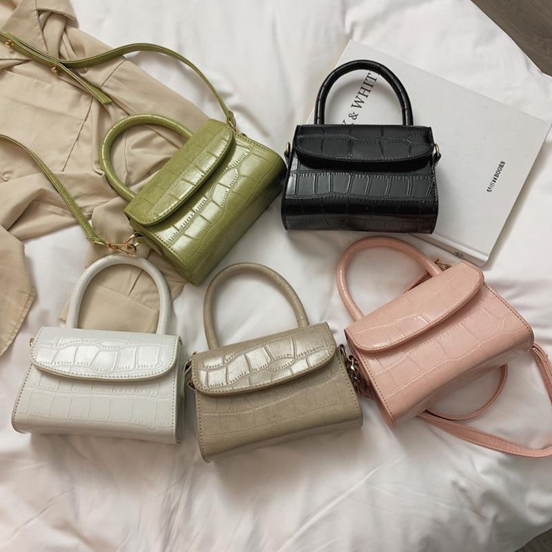 HOCODO Crossbody Bags For Women 2019 Solid Color Crocodile Pattern Handbags Quality Pu Leather Retro Small Ladies Shoulder Bags