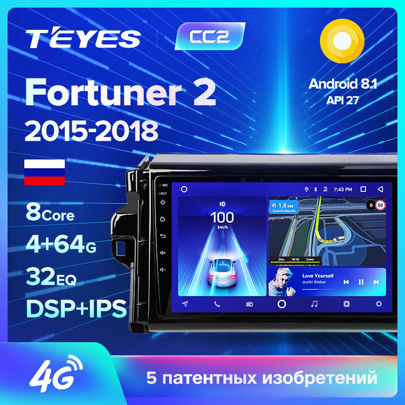 TEYES CC2 Voor Toyota Fortuner 2 2015-2018 Auto Radio Multimedia Video Player Navigatie GPS Android 8.1 Geen 2din 2 din dvd