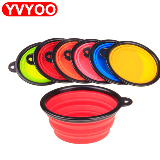 New Dog accessories silicone dog bowl candy color outdoor travel portable puppy doogie food container feeder dish on sale 6