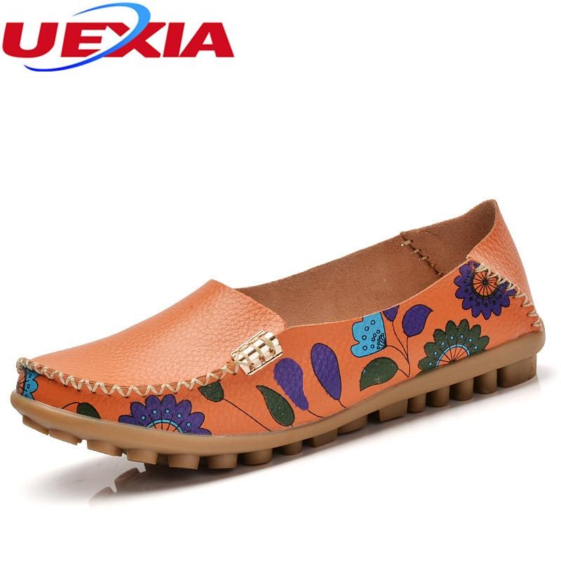 Summer Cow Muscle Ballet Flower Print PU Leather Women Shoes Driving Flat Flexible Nurse Peas Loafer Flats Low Heel Soft Bottomn