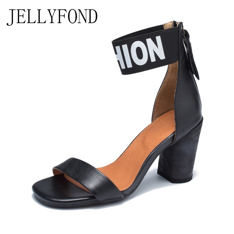 JELLYFOND Chunky High Heels Sandals Women Peep Toe Ankle Strap Gladiator Sandals 2018 Fashion Genuine Leather Summer Shoes Woman woman sandals ankle strap buckle pumps women high square heels shoes peep toe summer feminino gladiator sandals or914975