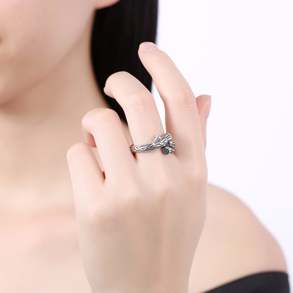 LUALA Brand S925 Sterling Silver Ring Tree Leaf Shape Grave Rings ...