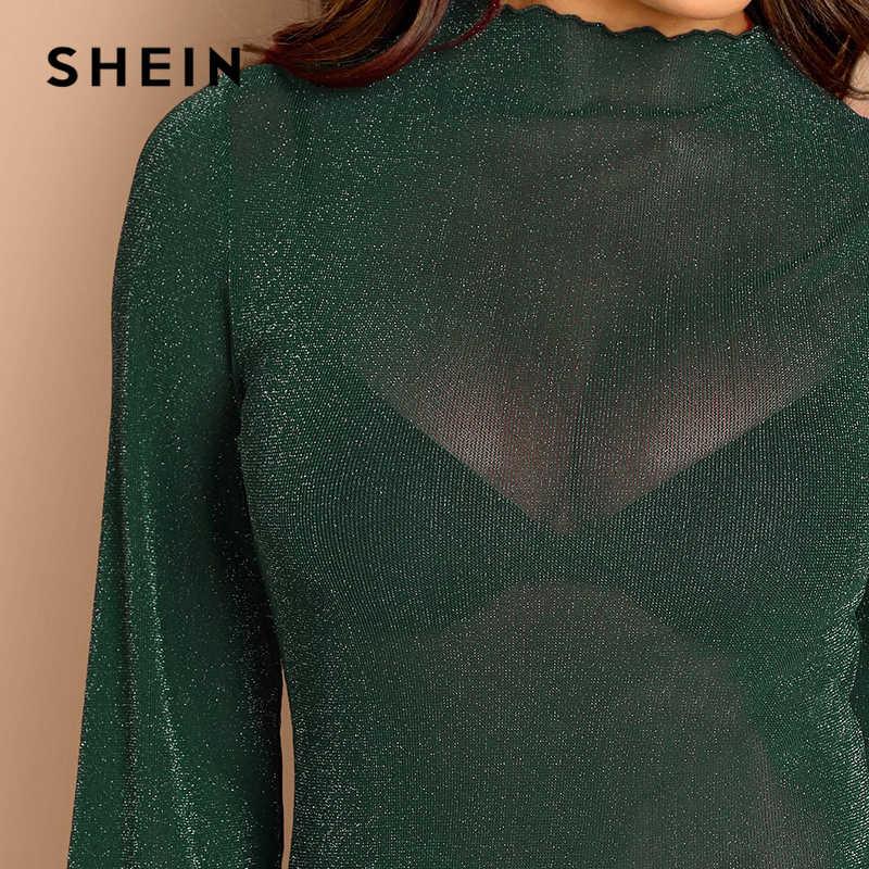 SHEIN/зеленый блестящий облегающий боди с длинным рукавом и блестящим блеском для женщин, облегающий сексуальный весенний однотонный Ночной костюм