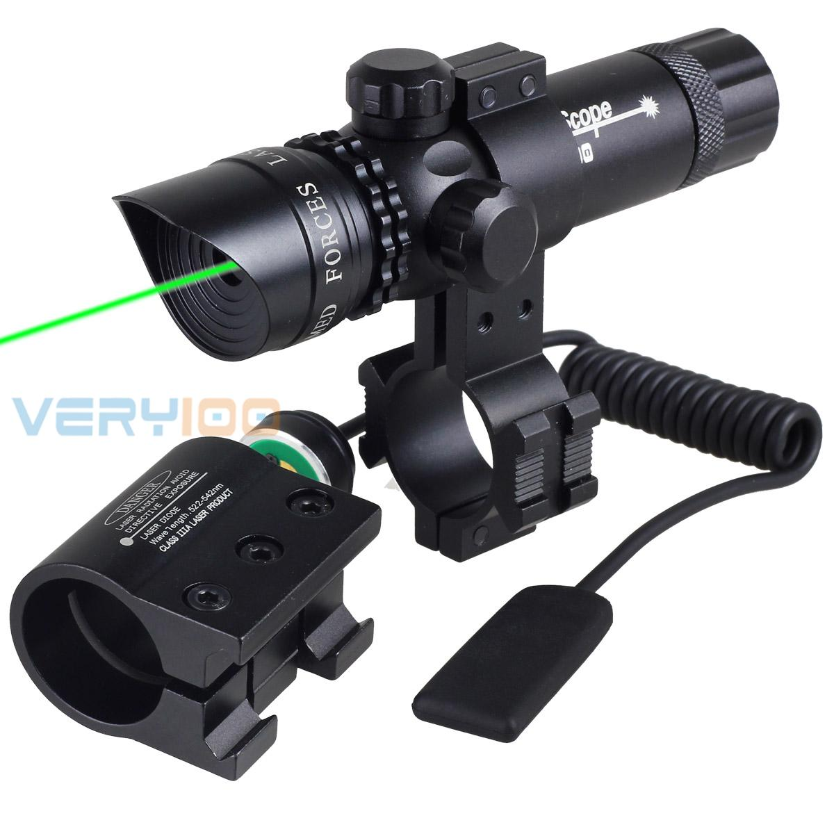 ФОТО Tactical 532nm Green Dot Adjustable Laser Sight Scope w/2 Mounts Switch for Hunting Riflescope Airsoft Guns