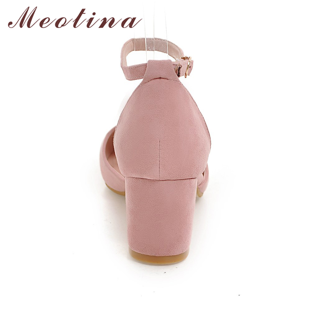 High Heels Women Pumps Two Piece Thick Heels Ladies Party Pink Shoes Summer Buckle Ankle Strap Footwear 1