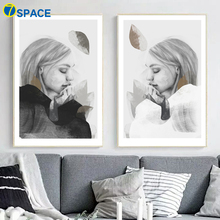 Illustration Girl Leaves Wall Art Canvas Painting Nordic Posters And Prints Pop Pictures For Living Room