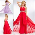 S009 Formal Party O-neck Sleeveless Long Prom Dresses Hot Pleated Chiffon Beaded Floor Length A-line Zipper Evening Gowns 2017