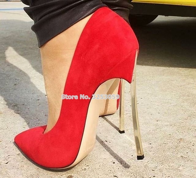ALMUDENA Women New Year Spring Summer Gold Heels Pumps Red Pink Suede Metal  Stiletto Heels Pointed Toe Shoes Wedding Pumps 61171295f5cb