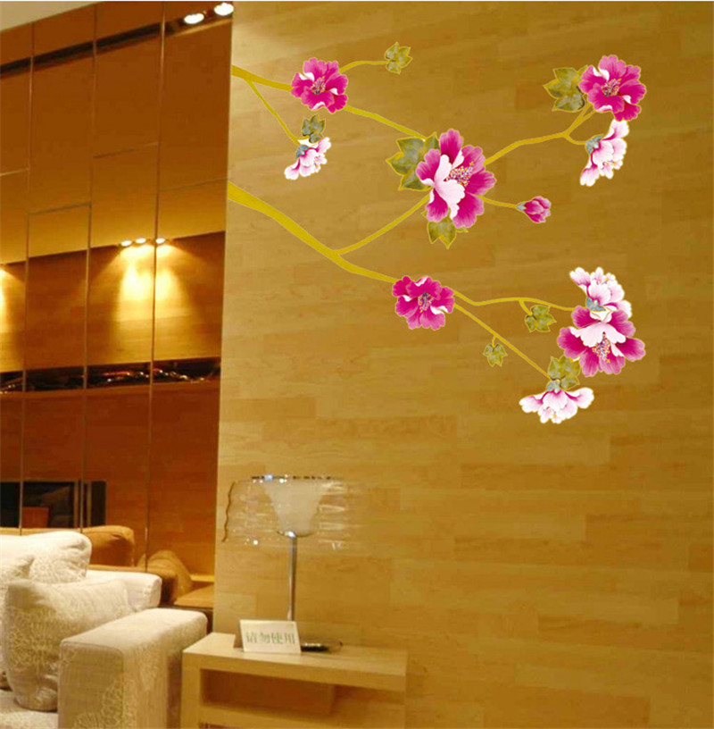Super Hot Hibiscus Flower House Decoration Wall Stickers Home Decor ...