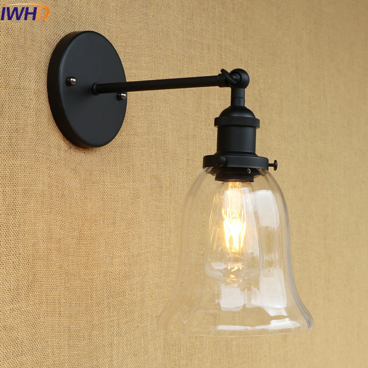 IWHD Retro Iron Wall Light Black Arm Sconce Glass Arandela Loft Led Wall Lamp Vintage Industrial Edison Bulb Lights Fixtures E27 loft nordic vintage wall lamp classic black art sconce decorative light adjustable arandela led swing 2 arm wall lights reading